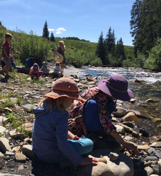 Collecting samples at a river
