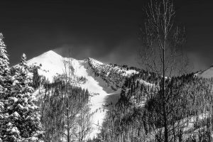 Sunrise on Redrock in the winter after large snowstorm black and white_(1)